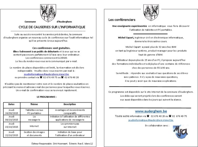 Programme Causeries sur L'informatique